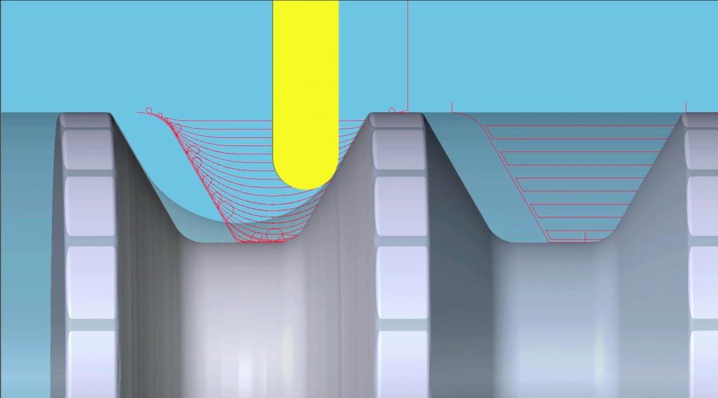Новая функция ESPRIT 2016 ProfitTurning — стратегия высокоскоростной черновой токарной обработки, основанная на физических принципах процесса резания.